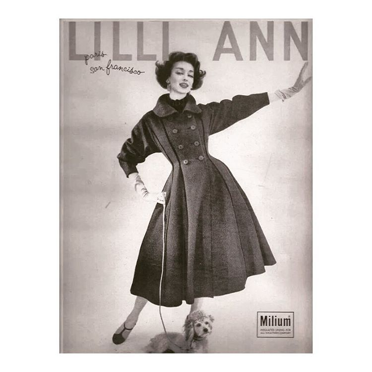 "A ""thrilling greatcoat"" indeed. Lilli Ann circa 1957, about $100 at the time, translates to roughly $850 in today's dollar. // #lilliann #dorianleigh"