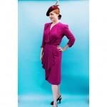 Amazing #1940s Jean Carol by Peggy Hunt crepe raspberry dress,…