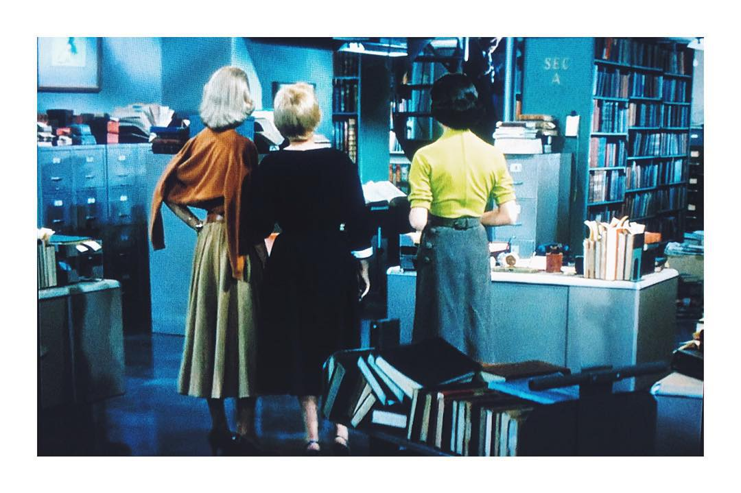 Same, from behind. I love the side buttons on Ms. Merill's skirt  // #1950s