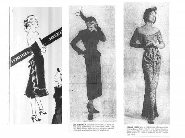 1) Bonwit Teller ad, 1946; 2-3) Brookyn newspaper 1948