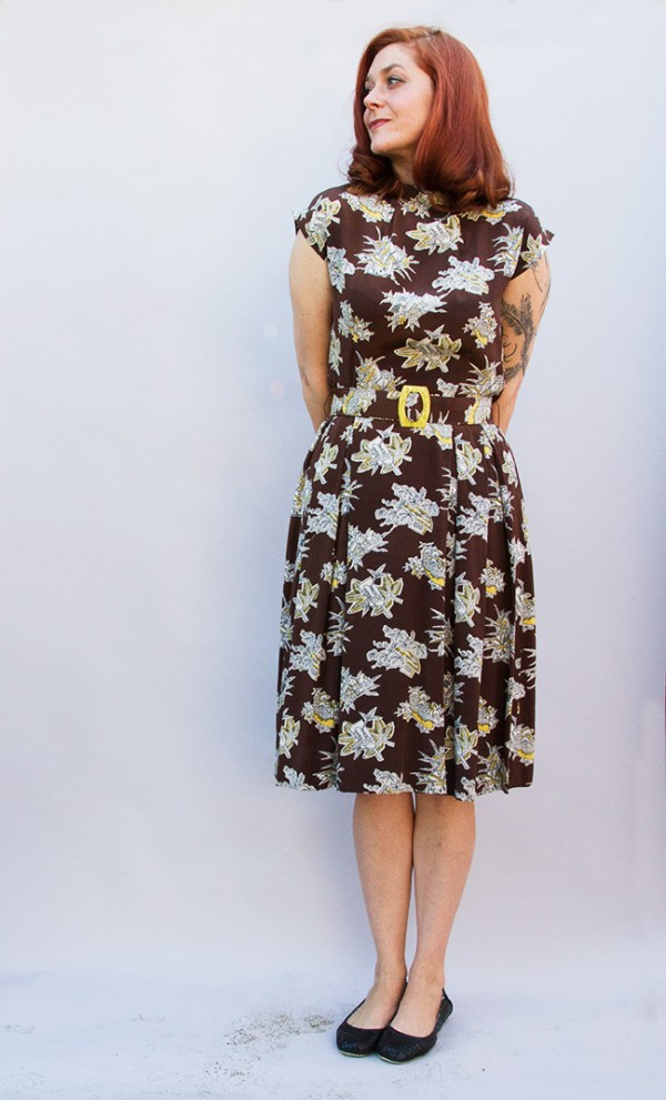 brown-yellow-novelty-dress