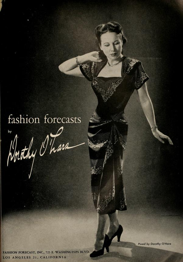 The Californian, Winter 1950 (modeled by Ms. O'Hara herself; no wonder her dresses had such slim hips)