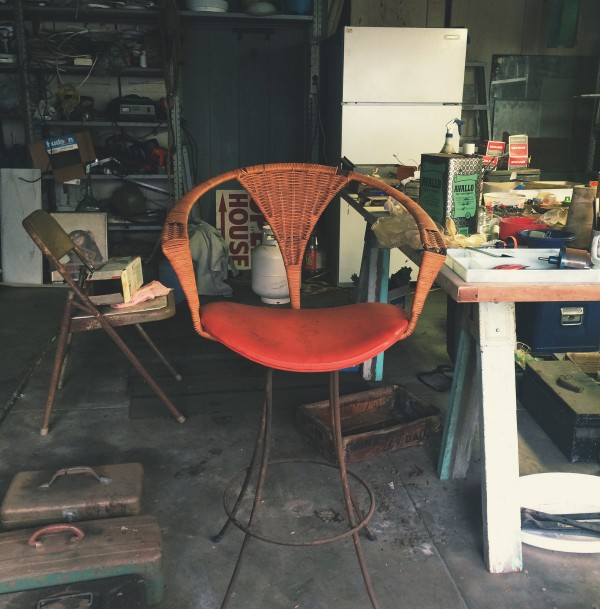 A typical garage one might see at an estate sale situation. Though to be fair, this chair is anything but typical.