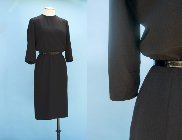 Lovely wool crepe cocktail LBD, $45 in my etsy store.