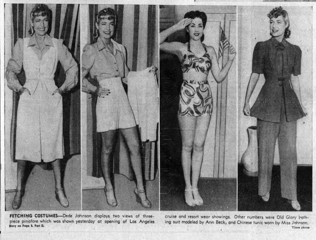 DeDe Johnson models resortwear in 1940