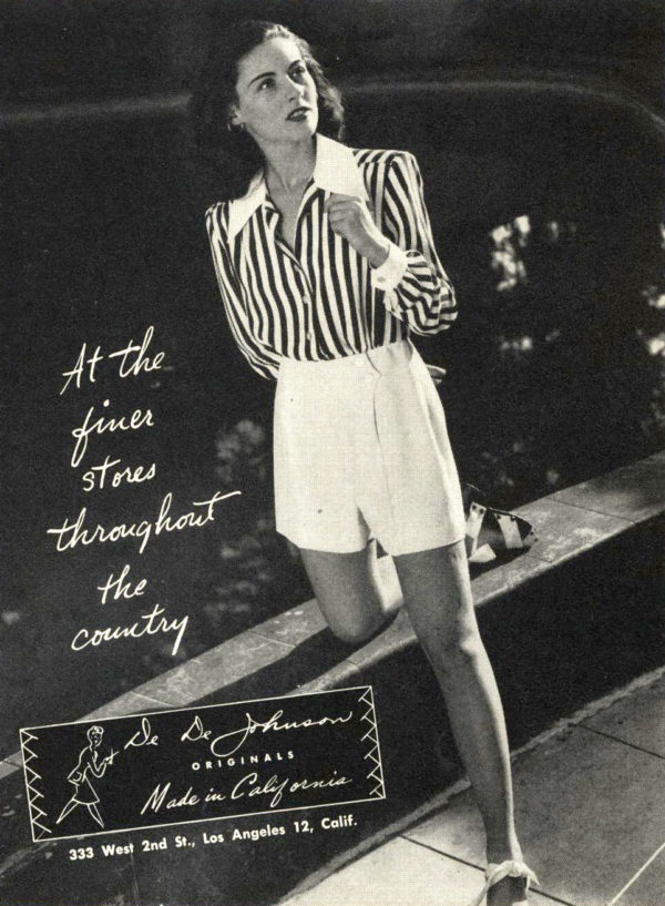 Striped shirt and shorts outfit, 1945